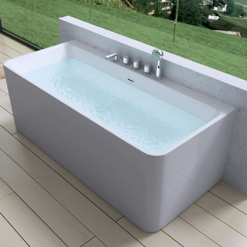AquaSoak Square Luxury Modern Wall Mount Bath Tub Acrylic Designer Bathroom Tub